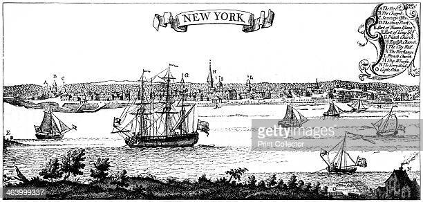 Old view of New York 1730 From Popple's American Atlas 1730 A print from Cassell's History of the United States by Edmund Ollier Volume I Cassell...
