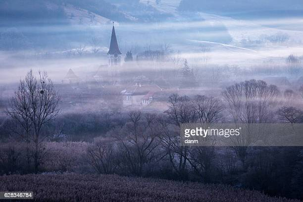 old village in transylvania called gherdeal, in the middle of romania at sunrise - romania stock pictures, royalty-free photos & images