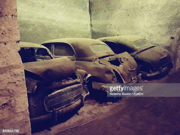 old vintage car - car crash wall stock photos and pictures