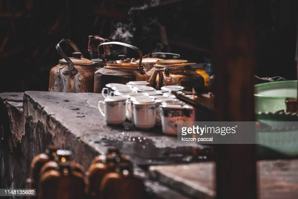 old vintage chinese teapot in a teahouse in china . east asian culture . - tea room stock pictures, royalty-free photos & images