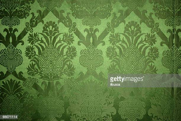 Old vintage green wallpaper texture