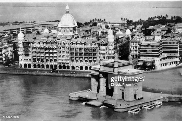 Old vintage photo of taj mahal and Gateway of India Apollo Bunder, Mumbai, maharashtra, India