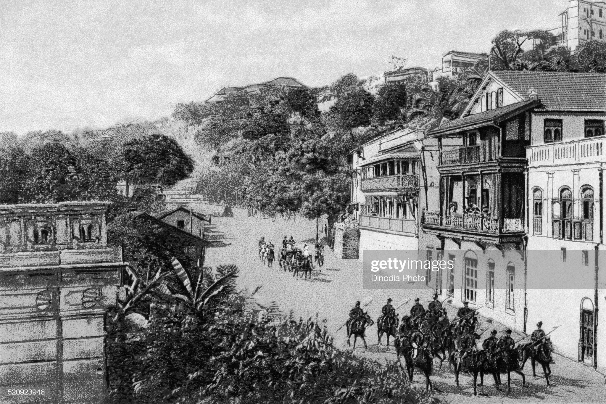 Old vintage photo of Walkeshwar road, Mumbai, maharashtra, India : Stock Photo