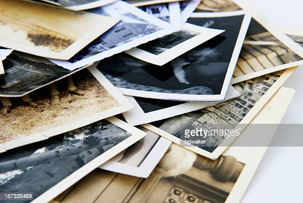 Old Vintage Retro Candid Photographs in a Pile