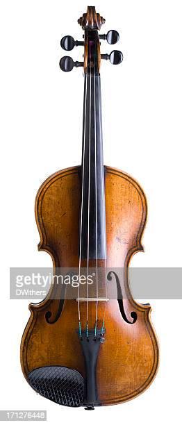 Vieux violon isolé sur blanc