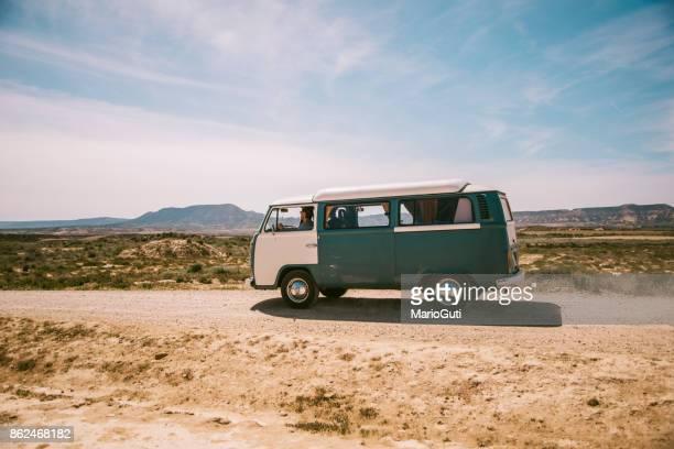 Old VW van at desert