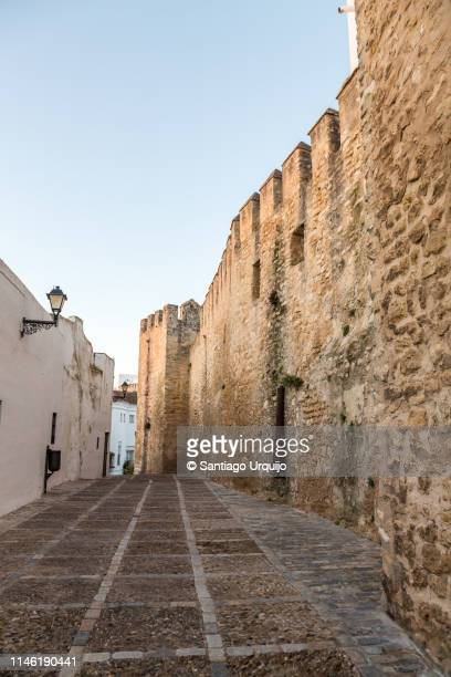 old wall of the castle of vejer de la frontera - vejer de la frontera fotografías e imágenes de stock