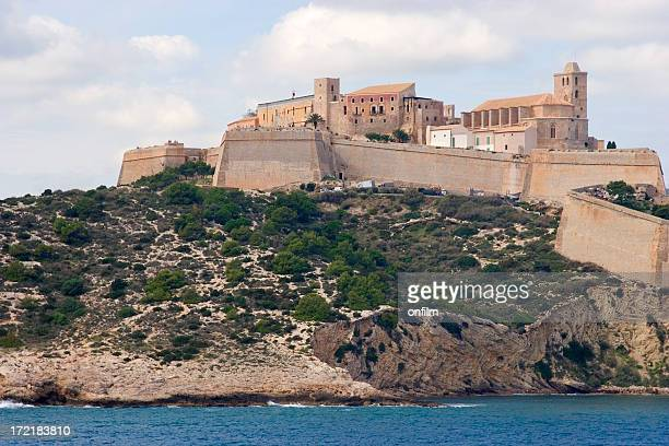 old walled town - ibiza island stock pictures, royalty-free photos & images