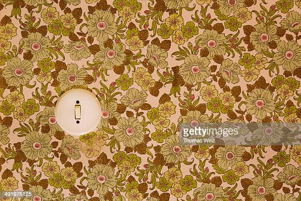 old wallpaper and light switch - floral pattern stock pictures, royalty-free photos & images