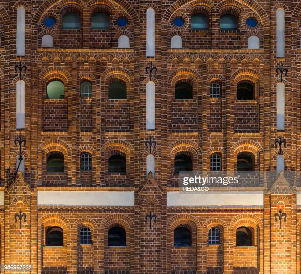 Old warehouses in traditional brick stone architecture in the harbour buildt in the beginning of the 20th century The Hanseatic City Stralsund The...