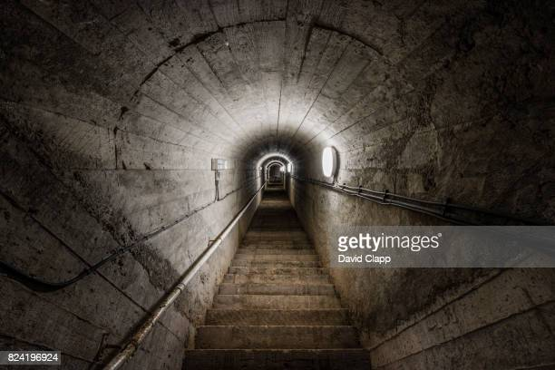 old wartime tunnel, st aubin, jersey - bunker stock pictures, royalty-free photos & images