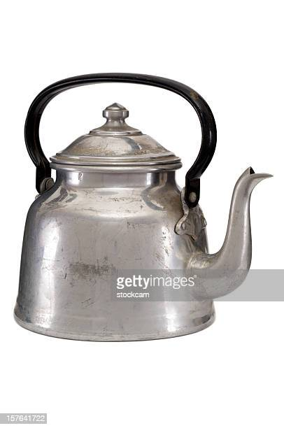 Old water kettle on white background
