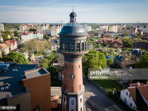 old water pump in zelenogradsk, former cranz in russia - kaliningrad stock pictures, royalty-free photos & images