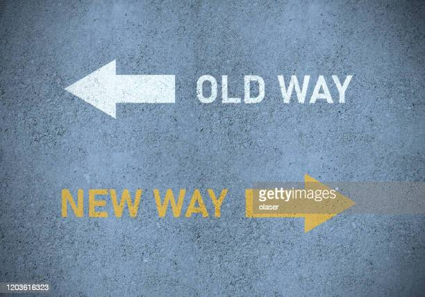 old way or new way (in yellow) roadmarking - change stock pictures, royalty-free photos & images