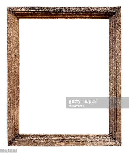Old weathered natural wood frame.