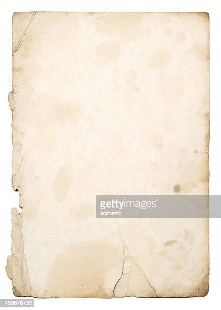 Old weathered paper with white background