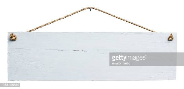 old weathered white wood signboard. - hanging stock pictures, royalty-free photos & images