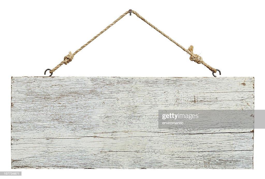 Alte verwitterte weißem Holz Schild. : Stock-Foto