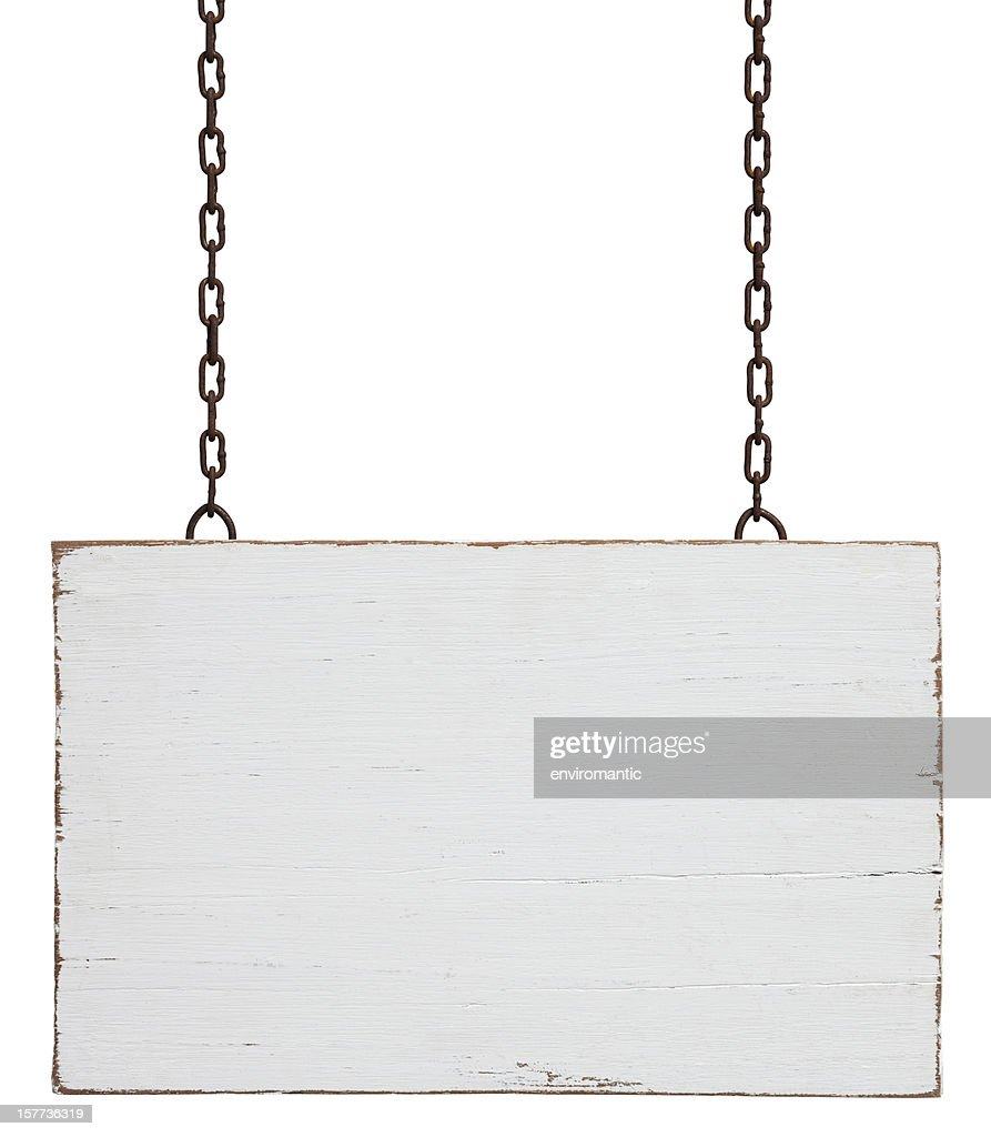 Old weathered white wood signboard. : Stock Photo