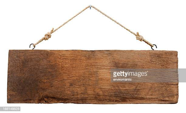 old weathered wood signboard. - hout stockfoto's en -beelden