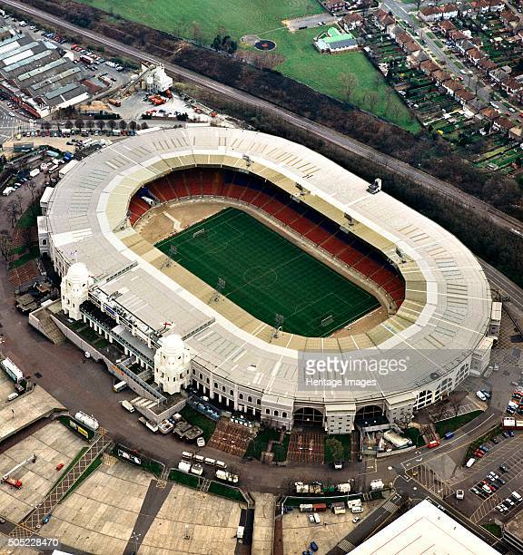 Old Wembley Stadium London Aerial view of the stadium prior to its demolition in 20022003 Artist Unknown
