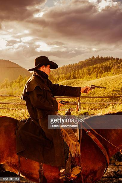 Old West Bandit On His Horse Aiming A Gun