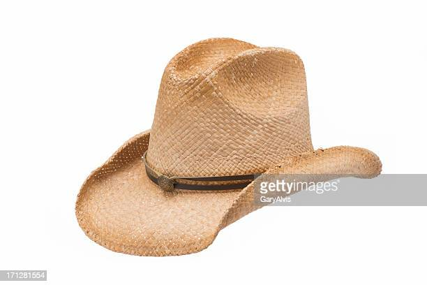 old west straw cowboy hat-isolated on white - cowboy hat stock pictures, royalty-free photos & images