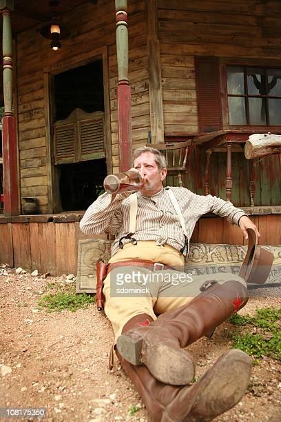 Old Western Man Drinking Liquor