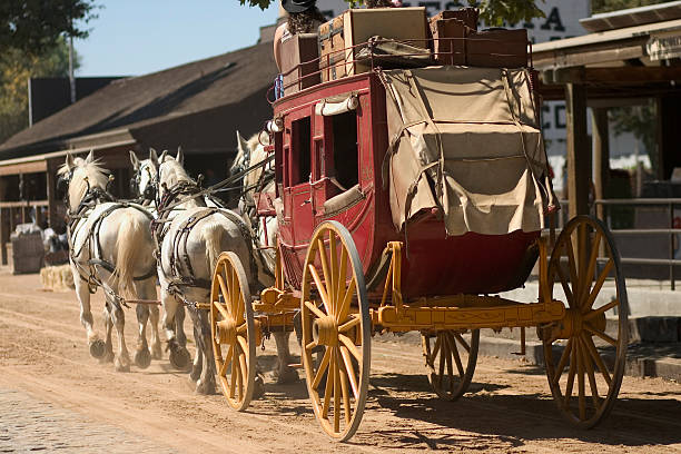 old western stagecoach from the 1800s - horse cart stock pictures, royalty-free photos & images