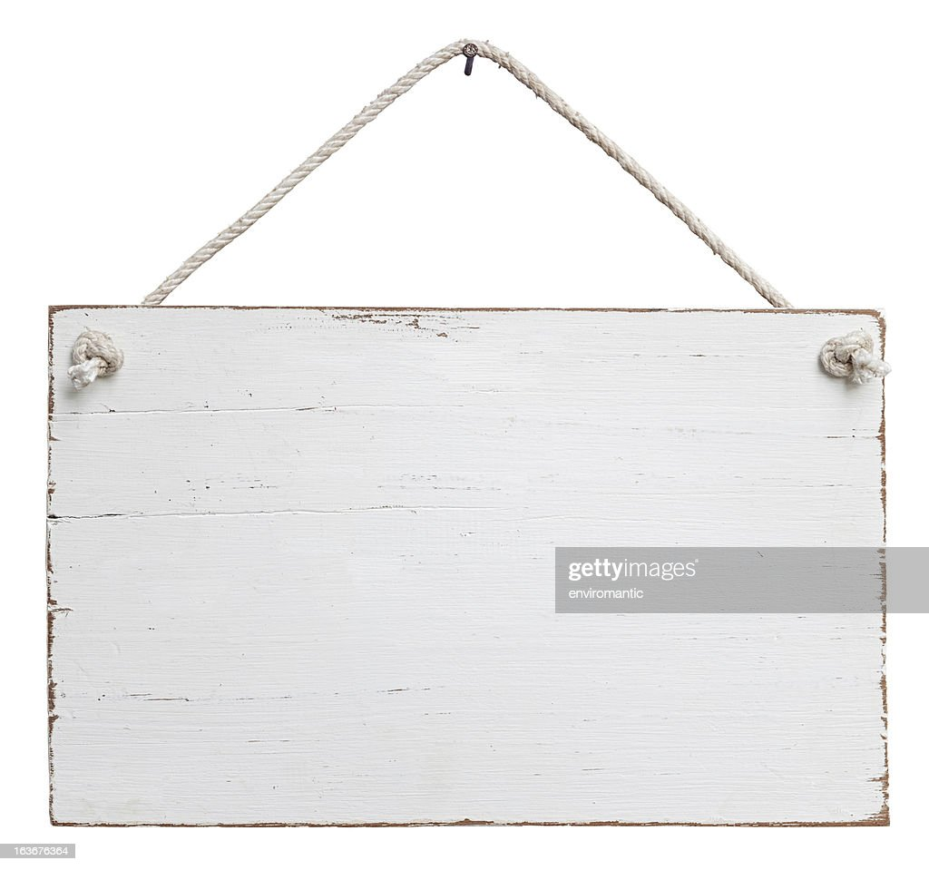 Old, white weathered signboard hanging by a string : Stock Photo
