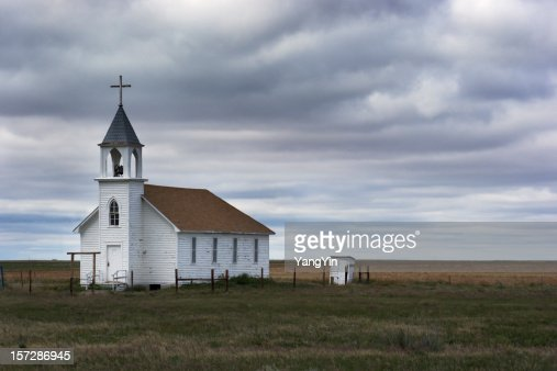 Old White Wooden Church In Rural Field Scene With Storm ...