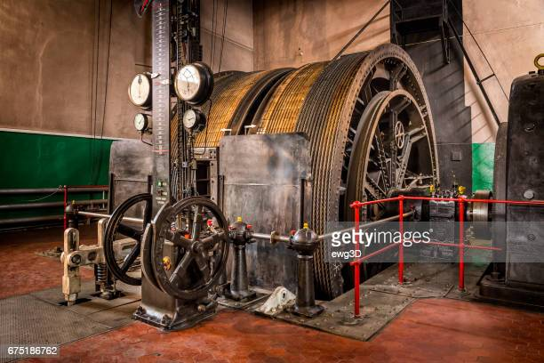 old winding engine in coal mine - mine elevator stock pictures, royalty-free photos & images