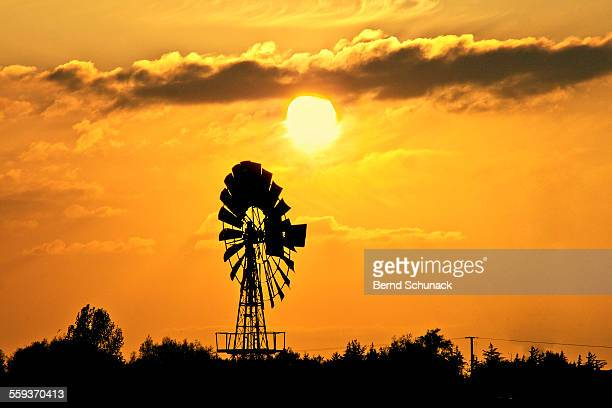 old windmill at sunset - bernd schunack stockfoto's en -beelden