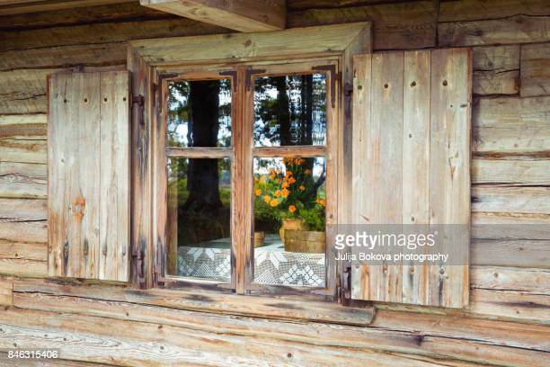 old window - oak wood material stock photos and pictures
