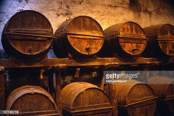 old wine barrels - jerez de la frontera stock pictures, royalty-free photos & images
