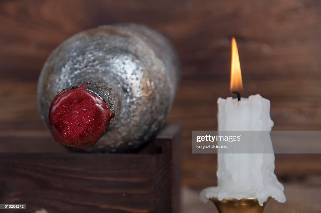 old wine bottle in a cellar : Stock Photo