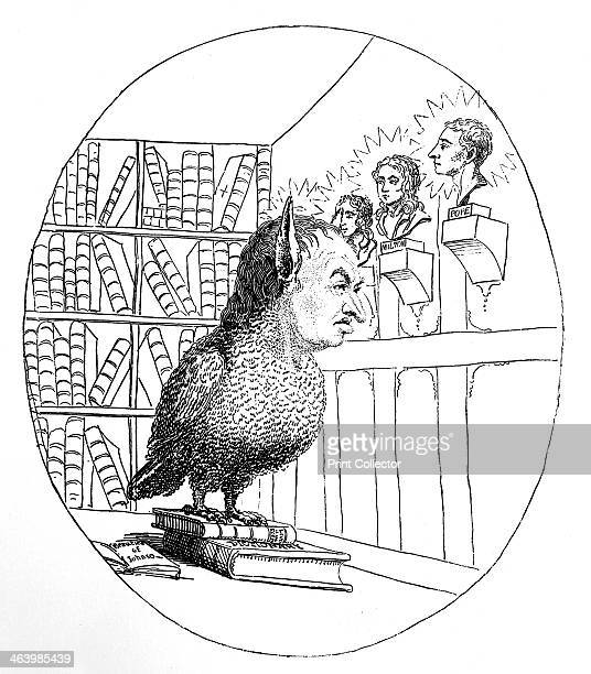 'Old Wisdom blinking at the stars' 1782 Man of letters and lexicographer Samuel Johnson as a wise owl looks at busts of Milton and Pope Illustration...