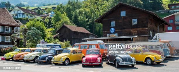 old wolkswagen cars renewal service in lauerz, canton of schwyz, switzerland - schwyz stock pictures, royalty-free photos & images