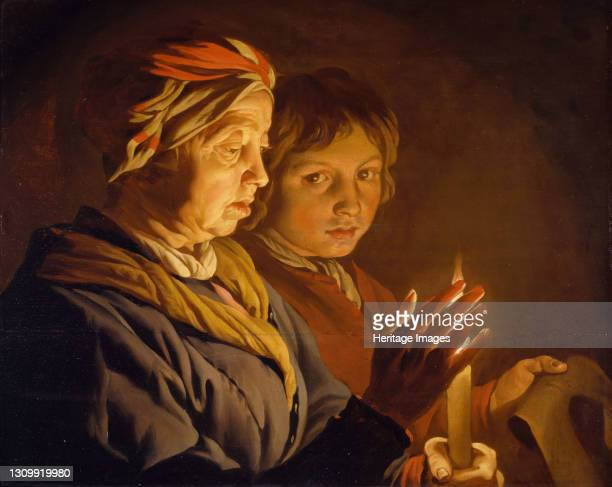 Old Woman And A Boy By Candlelight, 1630-1650. Artist Matthias Stomer. .