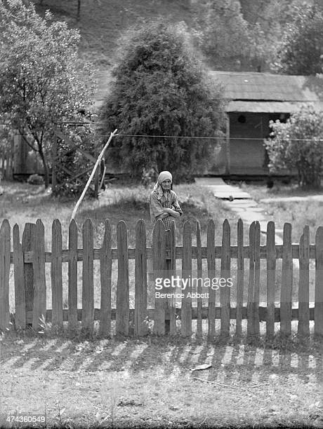 Old Woman Behind Fence West Virginia circa 1933