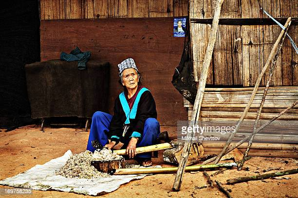 CONTENT] Old woman from Hmong hill tribe is chopping bamboo by kukri knife in the yard of her house in Doi Suthep national park near Chiang Mai...