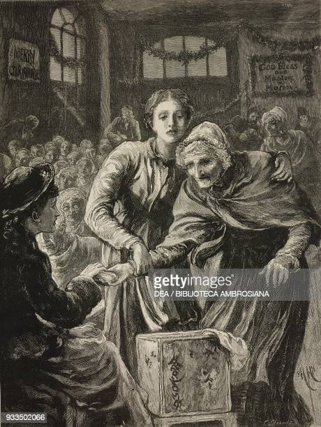 Old woman receiving a present Christmas in a workhouse illustration from the magazine The Graphic volume XIV Christmas number December 25 1876