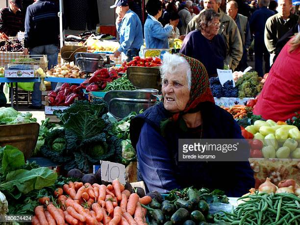 CONTENT] Old woman selling vegetables in market in Split Croatia September 18 2008