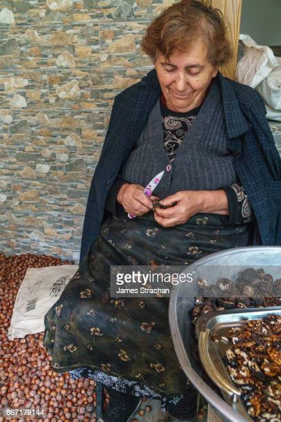 Old woman shelling walnuts and hazelnuts, near Sighnaghi, Kakheti, Georgia (Model Release)