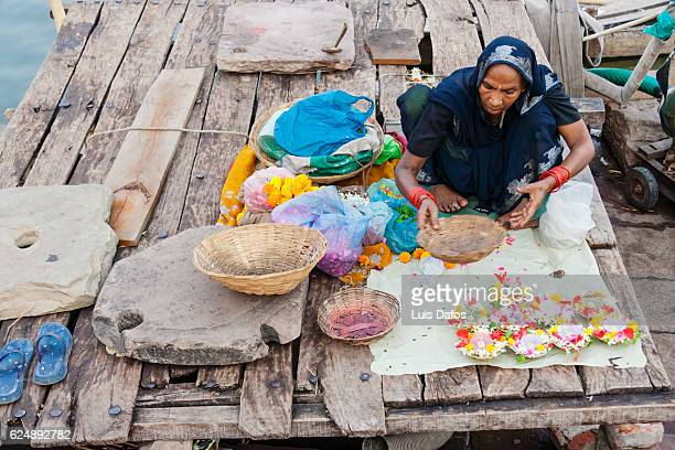 old woman, varanasi - dafos stock photos and pictures
