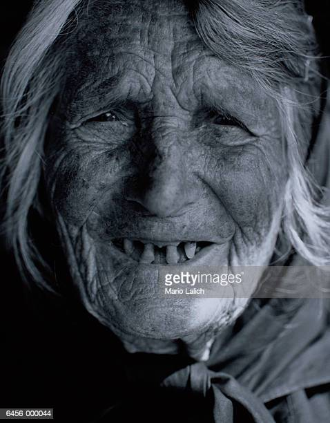 old woman with missing teeth - rot stock photos and pictures