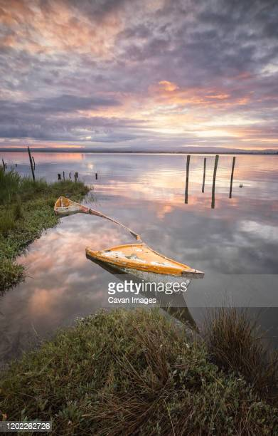old wood boat submerged in aveiro's river - アヴェイロ県 ストックフォトと画像