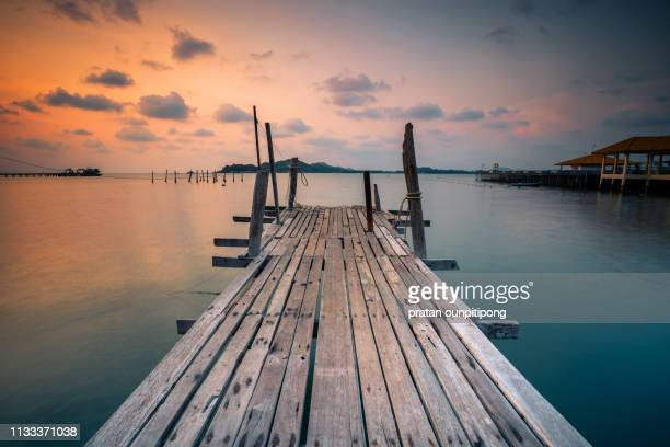 old wood bridge - jetty stock pictures, royalty-free photos & images