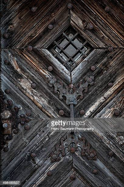 Old wood door of St. Gotthard hospice