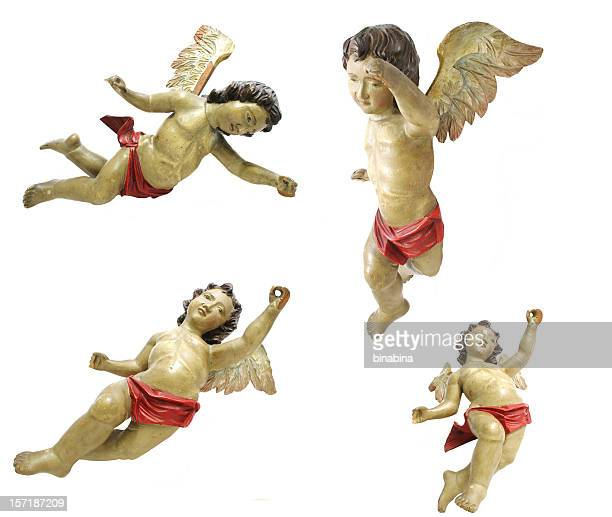 old wooden angels - angel stock pictures, royalty-free photos & images